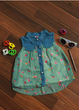 Sanaulla Exclusive Range Cotton Fancy Girls Frocks -  5037 Green