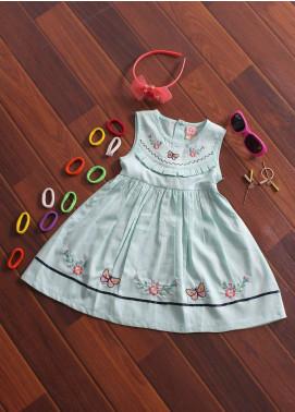 Sanaulla Exclusive Range Cotton Fancy Frocks for Girls - 513 Sky Blue