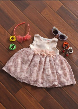 Sanaulla Exclusive Range Cotton Fancy Frocks for Girls -  5142 Pink