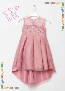 Sanaulla Exclusive Range Cotton Net Fancy Frocks for Girls -  5432 Pink