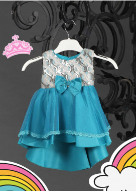 Sanaulla Exclusive Range Cotton Net Fancy Frocks for Girls -  8565 Sky Blue