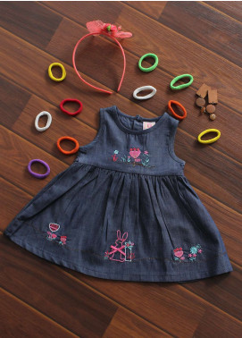 Sanaulla Exclusive Range Cotton Fancy Frocks for Girls -  A362 Blue