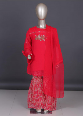 Sanaulla Exclusive Range Chiffon Embroidered Girls 3 Piece Suit - CPK-1924 Hot Pink