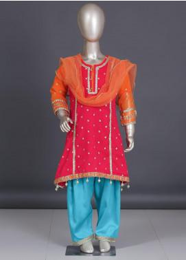 Sanaulla Exclusive Range Zari Net Embroidered 3 Piece Suit for Girls -  SPS-1921 Pink & Green