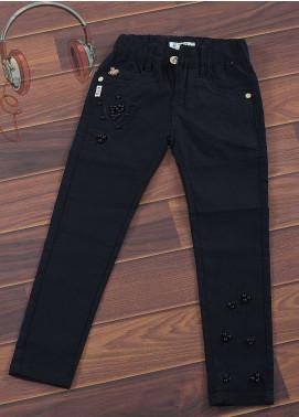 Sanaulla Exclusive Range Cotton Casual Girls Pants -  1980-Black