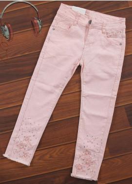 Sanaulla Exclusive Range Cotton Casual Girls Pants -  8283-Pink
