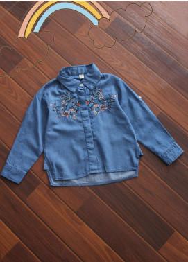 Sanaulla Exclusive Range Denim Fancy Shirts for Girls -  D-451 Blue
