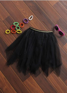 Sanaulla Exclusive Range Cotton Net Fancy Skirts for Girls -  08 Black