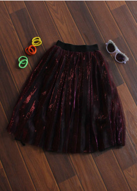 Sanaulla Exclusive Range Cotton Net Fancy Skirts for Girls -  8098 Maroon