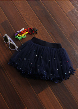 Sanaulla Exclusive Range Cotton Net Fancy Girls Skirts -  8715 Navy Blue