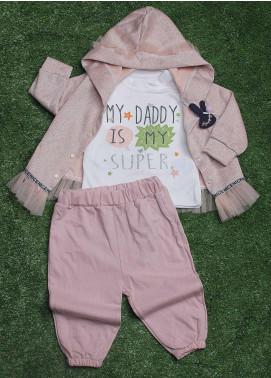 Sanaulla Exclusive Range Cotton Fancy 3 Piece Suit for Girls -  009K715 Pink
