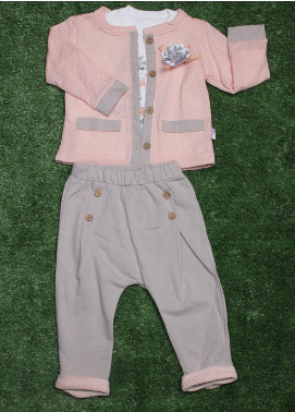 Sanaulla Exclusive Range Cotton Fancy 3 Piece Suit for Girls -  009K732 Pink