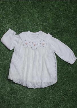 Sanaulla Exclusive Range Cotton Fancy Girls Frocks -  032K1317 White
