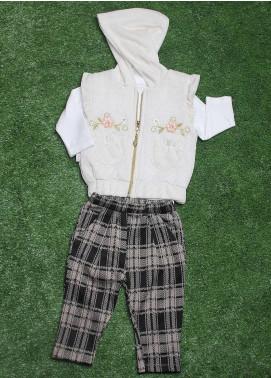 Sanaulla Exclusive Range Cotton Fancy Girls 3 Piece Suit -  075K353 Off White