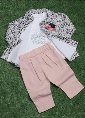 Sanaulla Exclusive Range Cotton Fancy 3 Piece Suit for Girls -  075K379 Grey