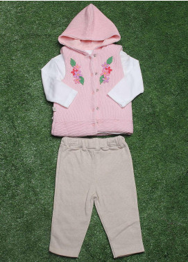 Sanaulla Exclusive Range Cotton Fancy 3 Piece Suit for Girls -  075K448 Pink