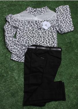 Sanaulla Exclusive Range Cotton Fancy 2 Piece Suit for Girls -  1967 Grey