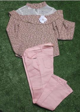 Sanaulla Exclusive Range Cotton Fancy Girls 2 Piece Suit -  1967 Pink