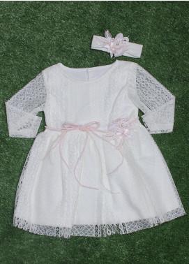 Sanaulla Exclusive Range Cotton Fancy Girls Frocks - 318 Off White
