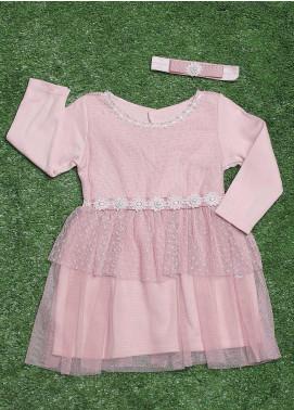 Sanaulla Exclusive Range Cotton Fancy Frocks for Girls -  371 Pink