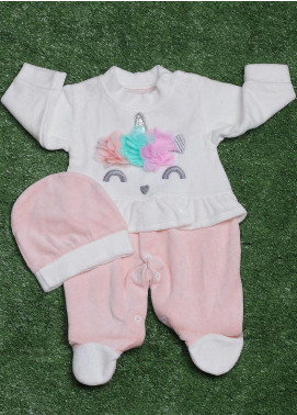 Sanaulla Exclusive Range Cotton Fancy Romper for Girls -  423K8222 L-Pink