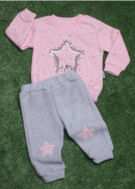 Sanaulla Exclusive Range Cotton Fancy Girls 2 Piece Suit -  4690 D-Pink