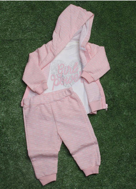 Sanaulla Exclusive Range Cotton Fancy Girls 3 Piece Suit -  9198 Pink