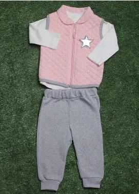 Sanaulla Exclusive Range Cotton Fancy Girls 3 Piece Suit -  9205 Pink