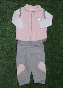 Sanaulla Exclusive Range Cotton Fancy Girls 3 Piece Suit - 9248 L-Pink
