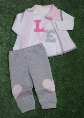 Sanaulla Exclusive Range Cotton Fancy 3 Piece Suit for Girls - 9248 Pink