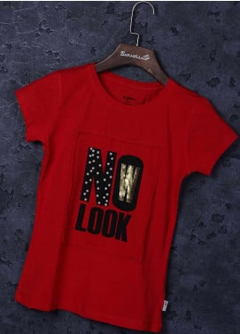Sanaulla Exclusive Range Cotton Casual T-Shirts for Girls - 20484 Red