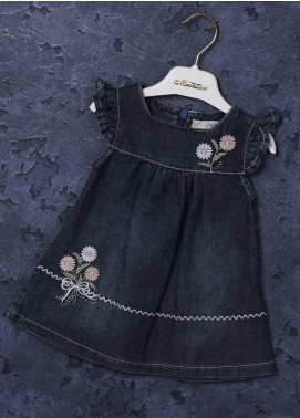 Sanaulla Exclusive Range Mix Cotton Fancy Girls Frocks -  4110 Navy Blue