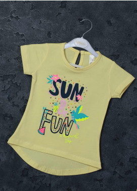 Sanaulla Exclusive Range Mix Cotton Printed T-Shirts for Girls -  95712 Yellow