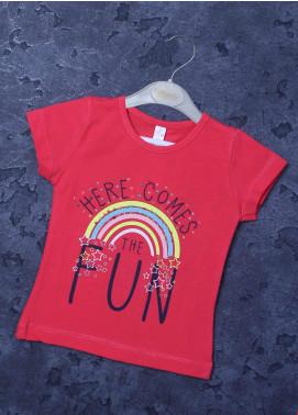 Sanaulla Exclusive Range Mix Cotton Printed Girls T-Shirts -  95724 Dark Pink