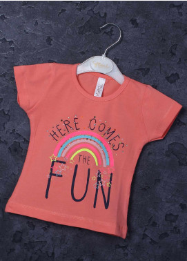 Sanaulla Exclusive Range Mix Cotton Printed T-Shirts for Girls -  95724 Pink
