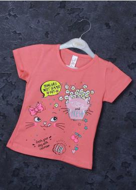 Sanaulla Exclusive Range Mix Cotton Printed T-Shirts for Girls -  95726 Pink