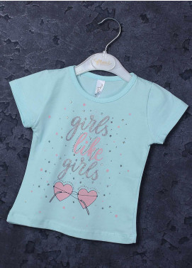 Sanaulla Exclusive Range Mix Cotton Printed Girls T-Shirts - 95731 Sky Blue