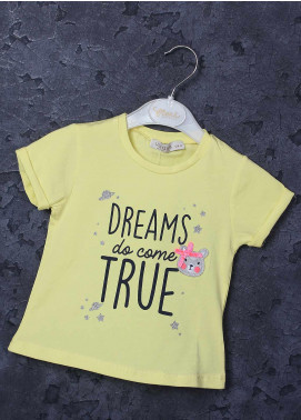 Sanaulla Exclusive Range Mix Cotton Printed T-Shirts for Girls - 97123 Yellow