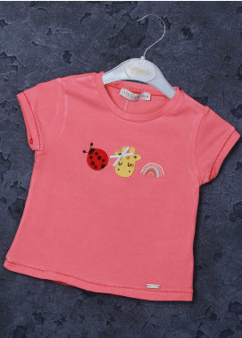 Sanaulla Exclusive Range Mix Cotton Printed T-Shirts for Girls - 97126 Peach