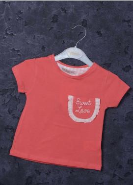 Sanaulla Exclusive Range Mix Cotton Printed Girls T-Shirts -  97127 Dark Pink