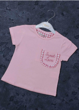 Sanaulla Exclusive Range Mix Cotton Printed T-Shirts for Girls -  97127 Pink