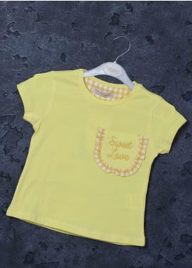 Sanaulla Exclusive Range Mix Cotton Printed Girls T-Shirts -  97127 Yellow