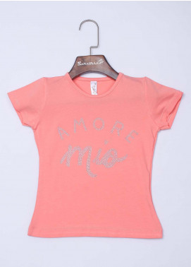 Sanaulla Exclusive Range Cotton Casual Girls T-Shirts -  97261 Dark Pink