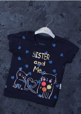 Sanaulla Exclusive Range Mix Cotton Printed T-Shirts for Girls -  98255 Navy Blue