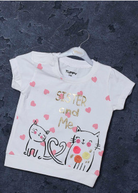 Sanaulla Exclusive Range Mix Cotton Printed Girls T-Shirts -  98255 Off White