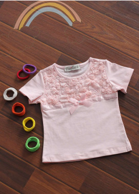 Sanaulla Exclusive Range Cotton Fancy Girls Tees -  801799 Pink