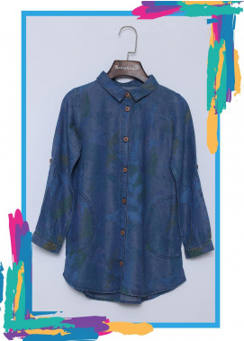 Sanaulla Exclusive Range Cotton Casual Girls Tops -  016 Blue