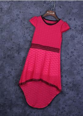Sanaulla Exclusive Range Cotton Fancy Frocks for Girls -  22457 Dark Pink