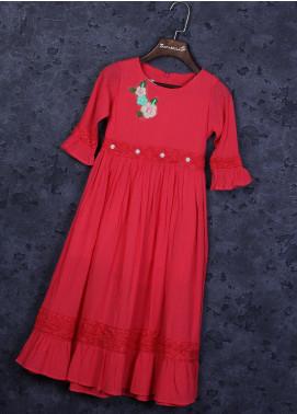 Sanaulla Exclusive Range Cotton Fancy Frocks for Girls -  22506-1 Pink