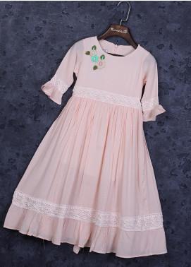 Sanaulla Exclusive Range Cotton Fancy Frocks for Girls -  22506-2 Pink